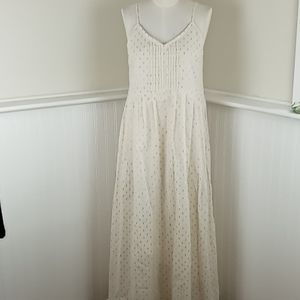 World Market Cream Gold Boho Maxi Dress